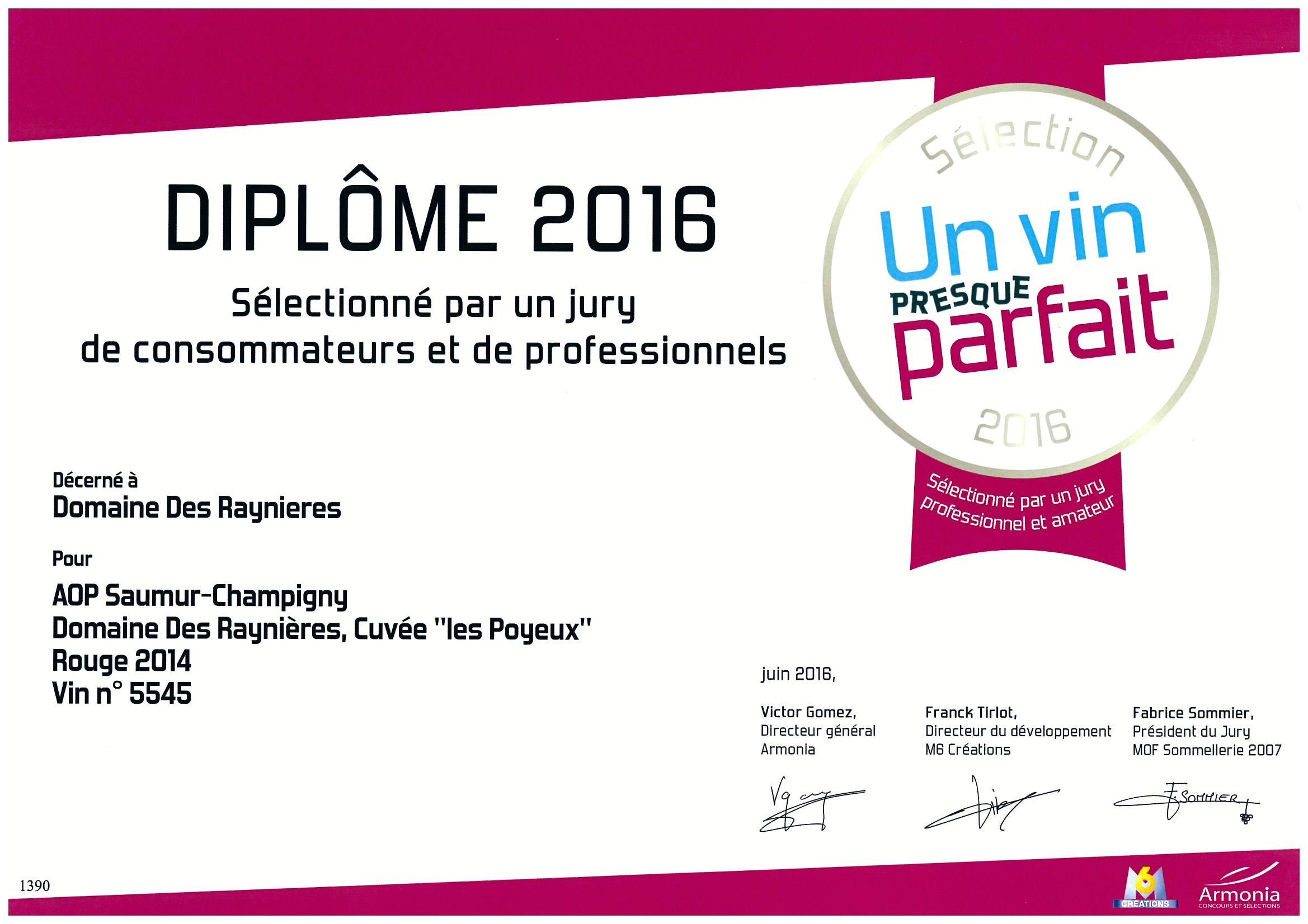 """Notre Saumur champigny """"Les Poyeux"""" 2014 sélectionné par Un Vin Presque Parfait"""